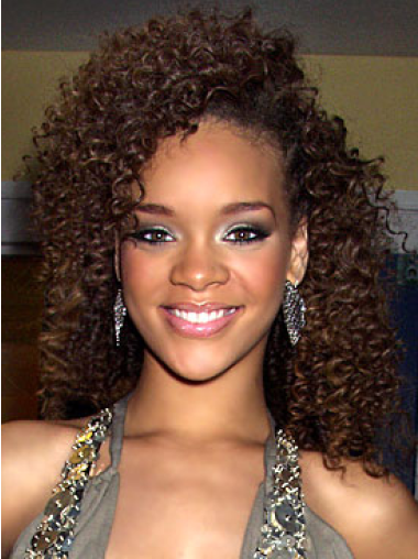 Rihanna Decent Mid-length Layered 100% Human Remy Hair Curly Lace Wig 14 Inches