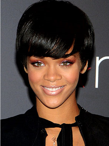 Rihanna Pleasant Short Straight Glueless Lace Front Wig with Bangs