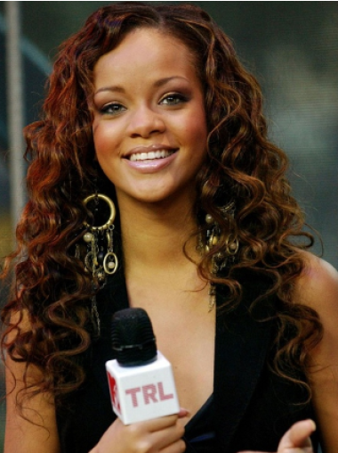 Rihanna Amiable Knockout Long Layered Curly Lace Human Hair Wig 22 Inches