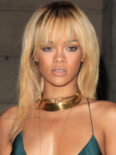 Rihanna Gorgeous Long Layered Straight 100% Human Remy Hair Lace Front Wig 18 Inches with Bangs