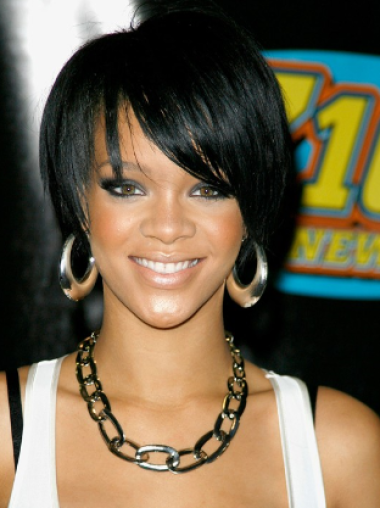 Rihanna Briskly Cute Short Asymmetrical Glueless Lace Front Human Hair Wig
