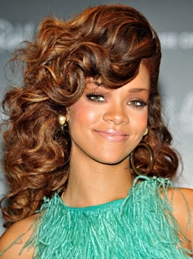 Rihanna Unique and Intriguing Long Voluminous Curly Lace Front Human Hair Wig 18 Inches