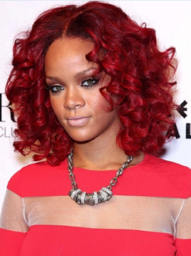 Rihanna Popular and Fresh Mid-length Layered Spiral Curl Full Lace Human Hair Bob Wig 12 Inches