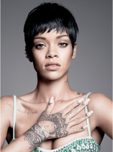 Rihanna Pixie Cut Short Straight Lace Front Human Hair Wig with Bangs