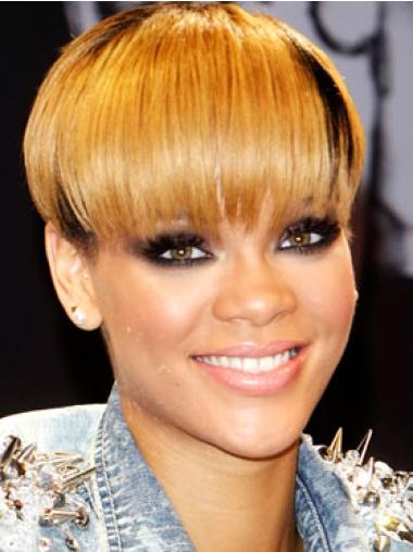 Rihanna Watermelon Taro Style Short Straight Capless Human Hair Wig with Bangs