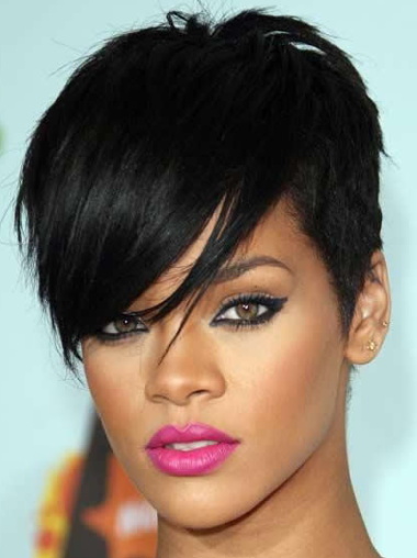 Rihanna Cool-looking Short Straight Capless Human Hair Wig with Bangs
