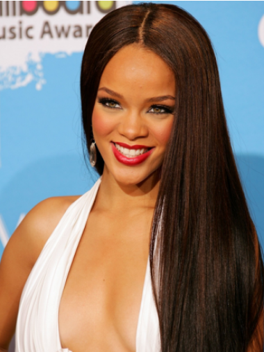 Rihanna Ultra-long Straight Lace Front Human Hair wig about 24 Inches