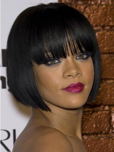 Rihanna Compact 100% Human Remy Hair Short Straight Lace Wig with Bangs