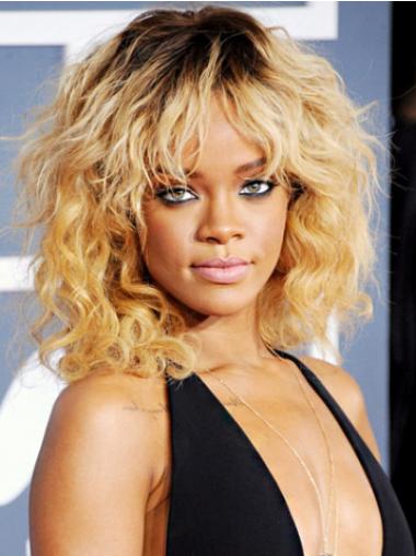 Rihanna New Fashioned Mid-length Wavy Full Lace Human Hair Wig with Bangs