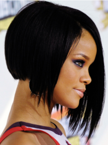Rihanna Naruto-style 100% Human Remy Hair Short Layered Straight Lace Front Wig