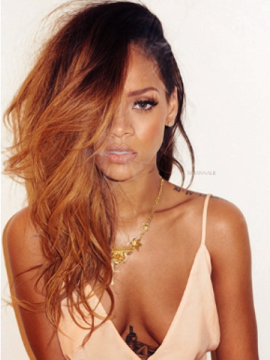 Rihanna Sultry and Alluring Long Layered Wavy Lace Human Hair Wig 22 Inches