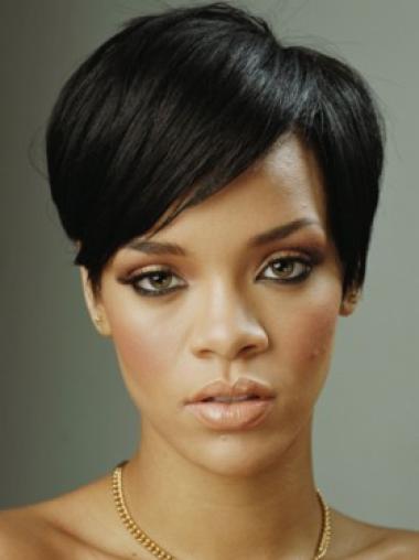 Rihanna Hoyden Style Short Straight Capless Human Hair Wig with Bangs