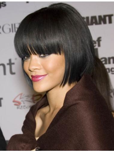 Rihanna Chin-length 100% Human Remy Hair Straight Lace Bob Wig with Bangs