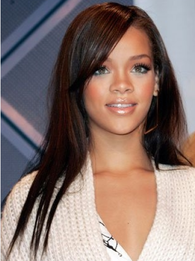 Rihanna Silky and Stunning Long Straight Glueless Lace Front Human Hair Wig 18 Inches with Bangs