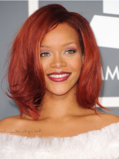 Rihanna Nostalgic and Charming Mid-length Body-wave Glueless Lace Human Hair Wig 12 Inches