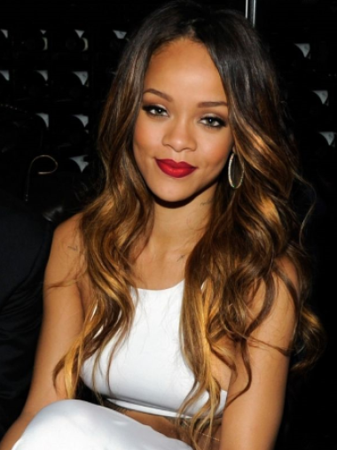 Rihanna Elegant and Brief Long Layered Body-wave Lace Human Hair Wig 22 Inches