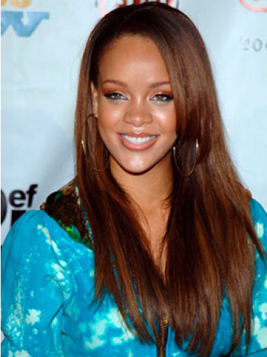 Rihanna Modest Long Straight Glueless Lace Front Human Hair Wig 22 Inches