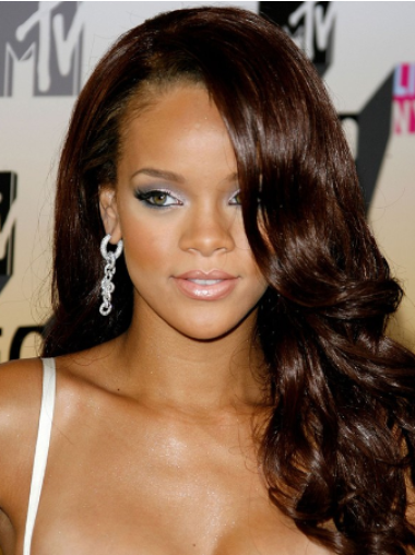 Rihanna Stellar Dresser Lustrous and Charming Long Body-wave Lace Human Hair Wig 18 Inches