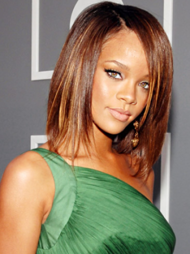 Rihanna Decent and Simple Mid-length Layered Straight Lace Human Hair Wig 12 Inches