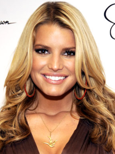 Jessica Simpson effortlessly appealing 100% human hair long wavy lace wig about 18 inches