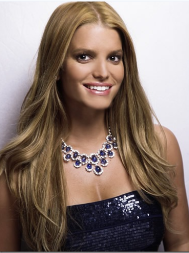 Jessica Simpson Remarkable Long Straight Lace Human Hair Wig about 22 Inches