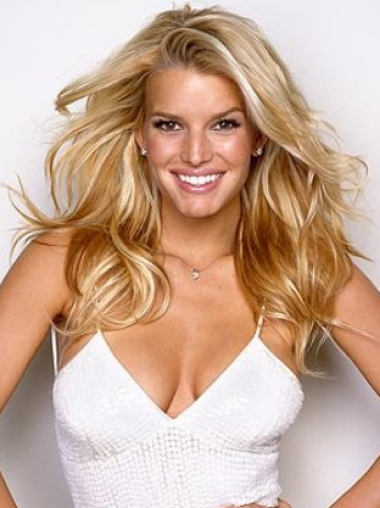 Jessica Simpson hot and sporty 100% human remy hair long wavy glueless lace front wig about 20 inches