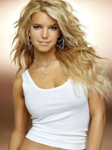 Jessica Simpson Romantic and sexy long layered wavy lace human hair wig about 22 inches