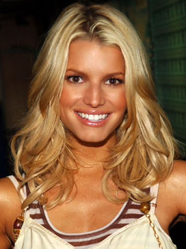 Jessica Simpson perfectly designed long layered wavy glueless lace front wig about 16 inches