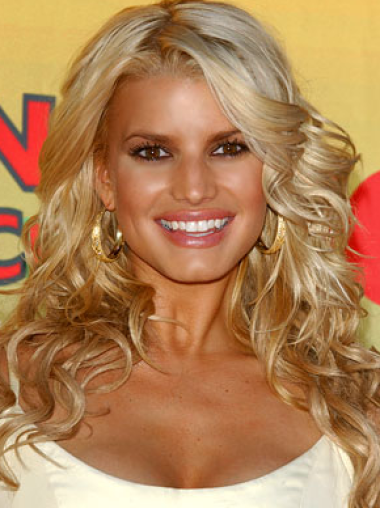 Jessica Simpson delicate long softly layered wavy lace wig about 20 inches