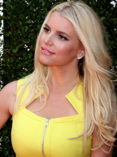 Jessica Simpson Girlish and Intellectual 100% Human Remy Hair Long Layered Straight Lace Wig about 20 Inches