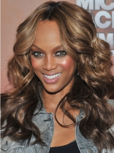 Tyra Banks Fabulous Long Wavy Lace Front Human Hair Wig 18 Inches with Loose Curls