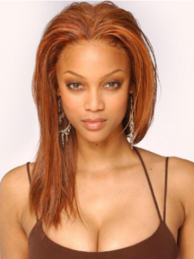 Tyra Banks Natural Long Straight Lace Front Human Hair Celebrity Wigs 16 Inches