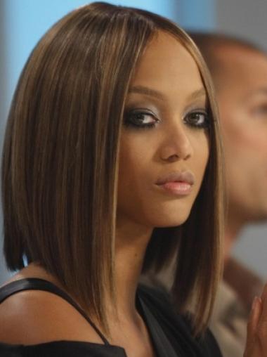 Tyra Banks Posh and Sensational Mid-length Straight Lace Human Hair Wig 12 Inches