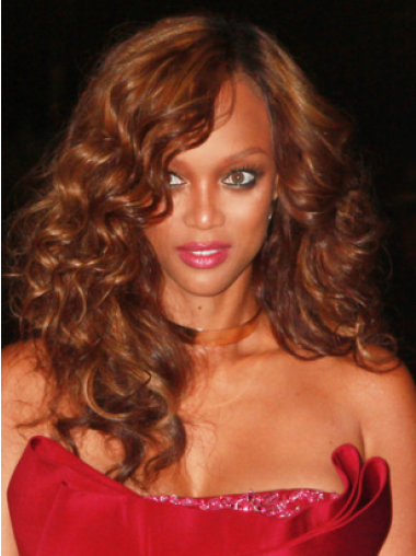 Tyra Banks Sexy Luscious Long Curly Lace Front Human Hair Wig 18 Inches