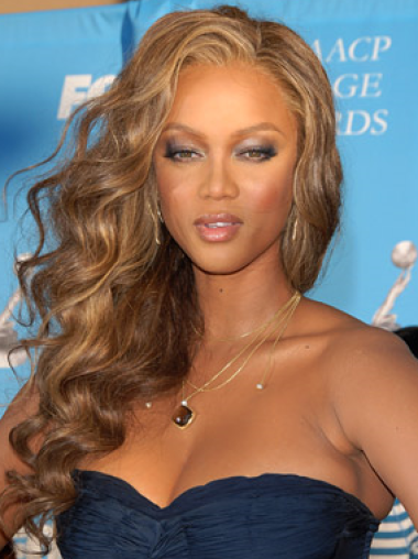 Tyra Banks Charming Sultry Long Curly Glueless Lace Front Human Hair Wig 22 Inches