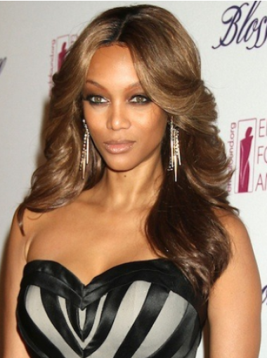 Tyra Banks Feminine Long Body-wave Style Lace Human Hair Wig 20 Inches