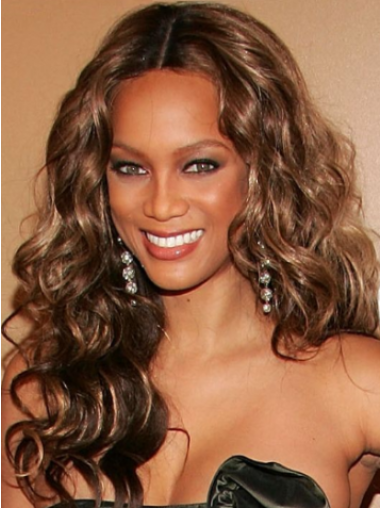 Tyra Banks Blooming Long Loose-curl Shag Lace Front Human Hair Wig 20 Inches