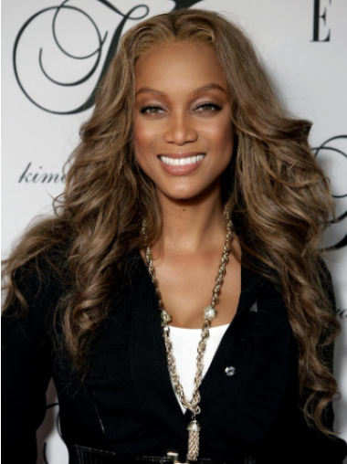 Tyra Banks Particularly Beautiful Long Beach-wave with Curls Glueless Lace Front Human Hair Wig 24 Inches