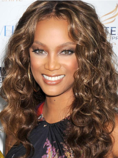 Tyra Banks Trendy and Fun Long Curly Full Lace Human Hair Wig 20 Inches