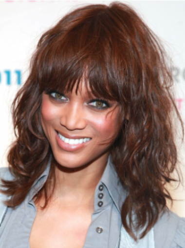 Tyra Banks Gorgeous Chic Mid-length Curly Lace Front Human Hair Wig 14 Inches with Bangs