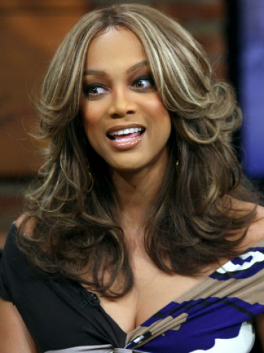 Tyra Banks Beautiful Intriguing Shoulder-hitting Long Wavy Layered Glueless Lace Front Human Hair Wig 16 Inches