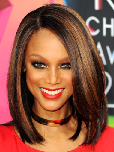 Tyra Banks Soft Shoulder-length Straight Lace Human Hair Wig 12 Inches