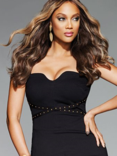 Tyra Banks Appealing and Stylish Long Wavy Lace Human Hair Wig 20 Inches