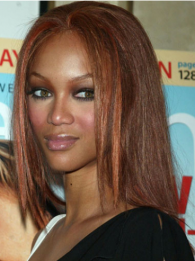 Tyra Banks Soft and Beautiful Mid-length Straight Layered Lace Human Hair Wig 14 Inches