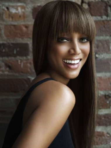 Tyra Banks Young Vivacious Charming Long Straight Glueless Lace Front Human Hair Wig 24 Inches with Bangs