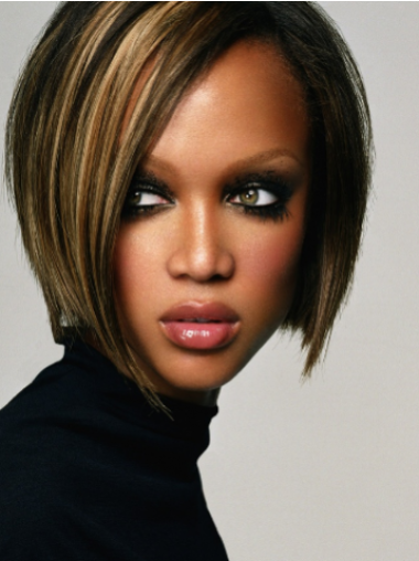 Tyra Banks Sophisticated and Asymmetrical Short Straight Lace Front Human Hair Bob Wig