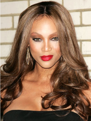 Tyra Banks All-beautiful Long Body-wave Layered Style Lace Human Hair Wig 20 Inches