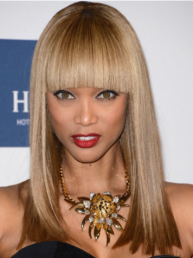 Tyra Banks Long Straight Lace Front Human Hair Wig 16 Inches