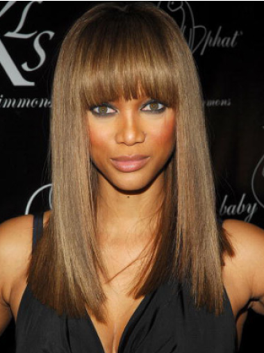 Tyra Banks Mysterious Playful Long Straight Glueless Lace Front Human Hair Wig 16 Inches with Straight Bangs