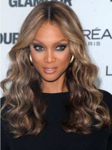 Tyra Banks Glamorous Quality Long Curly Lace Human Hair Wig 18 Inches